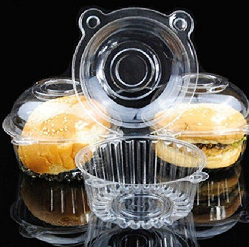 50p/set Clear Plastic Single Cupcake Muffin Case Pods Domes Cup Cake Boxes HS88 N@N