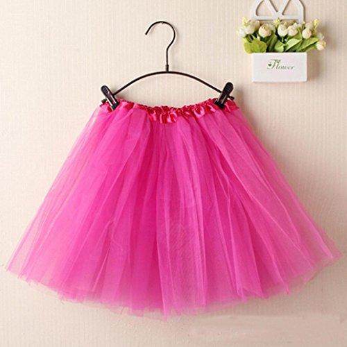 Women Skirts, Gillberry Women Girl Ballet Tutu Layered Organza Lace Mini Skirt (Free Size, Hot Pink)