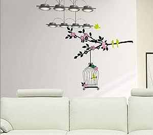 Stickie Art StickieArt - Bird In The Cage Wall Decal - Medium - 50 x 70 cm