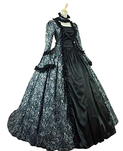 (KEMAO Women's Victorian Rococo Dress Inspiration Maiden Costume (XS:Height61-63 Chest32-33 Waist24-25, Green &)