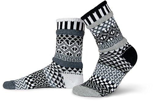 Solmate Socks - Mismatched Crew Socks; Made in USA; Midnight Large