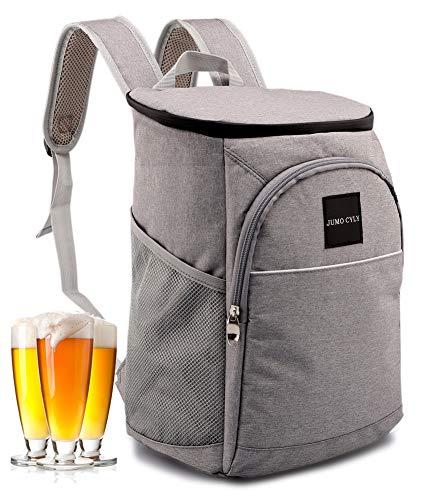 JUMO Insulated Cooler Bag Backpack Leakproof Lightweight Lunch Backpack Cooler for Work Picnics, Sports, Hiking, Men Women, 20Can Black (Grey)