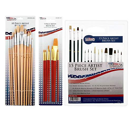 US ART SUPPLY 121-Piece Custom Artist Painting Kit with Coronado Sonoma Easel, 24-Tubes Acrylic Colors, 24-Tubes Oil Painting Colors, 24-tubes Watercolor Painting Colors, 2-each 16x20 Artist Quality Stretched Canvases, 6-each 11x14 Canvas Panels, 11x14 Watercolor Paper Pad, 10-Natural Hair Bristle Paint Brushes, 7-Nylon Hair Paint Brushes, 15-Multipurpose Paint Brushes, Trowel, 5 Pallete Knives, 17-Well Paint Mixing Pallete