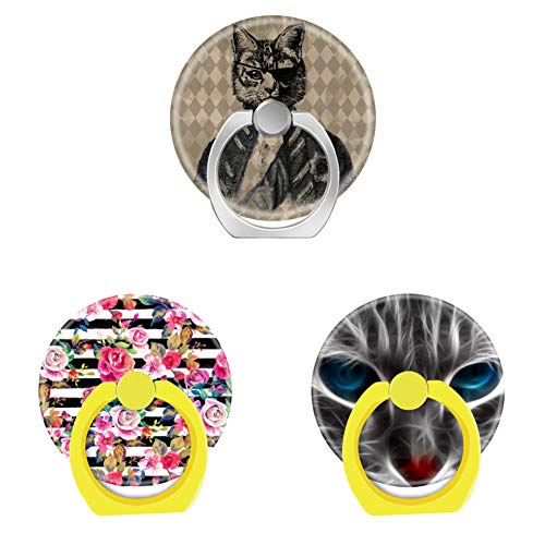 - Bsxeos 360°Rotation Cell Phone Ring Holder with Car Mount Work for All Smartphones and Tablets-Cute Spring Floral and Stripes Watercolor-Ghost cat Hull-Harlequin cat Grunge(3 Pack)