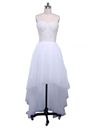 Beauty-Emily Prom Dresses Womens Sweetheart Sexy Sleeveless Long White Tulle High Low Dresses Plus