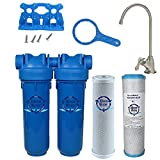 Chlorine Sediment Chloramine Lead Water Filter, KleenWater KW1000 Chemical Removal Under Sink Drinking Water Filtration System, Brushed Nickel Faucet, Two Filter Cartridges (Brushed Nickel)