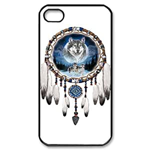 WJHSSB Customized Print Wolf Dream Catcher Pattern Back Case for iPhone 4/4S