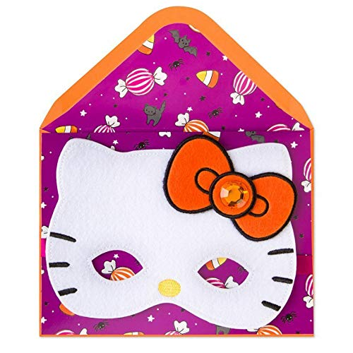Greeting Card Halloween Party Hello Kitty Mask Dress Up Your Halloween With Lots Of Fun Card -