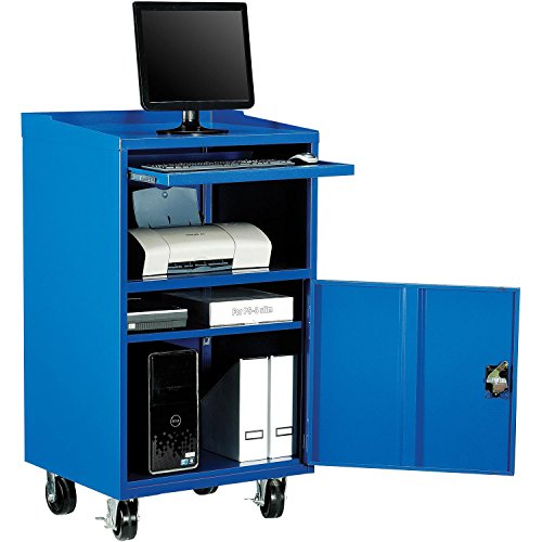 Mobile Computer Cabinet, Blue, 27''W x 24''D x 49-1/4''H by Global Industrial