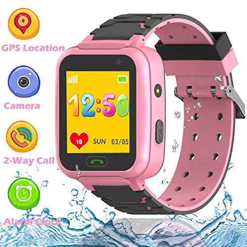 Kids GPS Waterproof Smart Watch Phone for Boys Girls- Smartwatch Phone with WiFi GPS Tracker 2 Way Calls SOS Voice Chat Camera Alarm clock for Kids Holiday Birthday Gifts Back to School ( Pink)