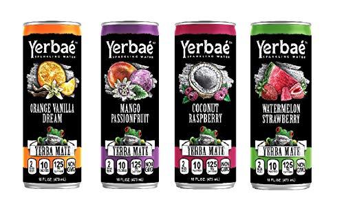 Yerbaé Enhanced Sparkling Water Yerba Mate Drink, Mango Passion Fruit, Watermelon Strawberry, Coconut Raspberry, Vanilla Orange Dream, 4 Flavor Variety Pack, 16 oz (Pack of 24)