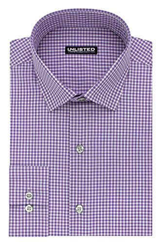 Kenneth Cole Unlisted Men's Slim Fit Check Spread Collar Dress Shirt by Kenneth Cole REACTION