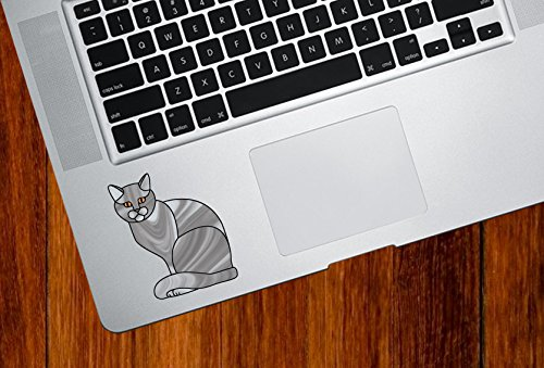Grey Charming Cat Stained Glass Style - Trackpad | Tablets | Computer - Vinyl Decal Sticker © YYDC (2.25