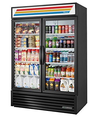 True GDM-49-HC~TSL01 Double Swing GLASS Door Merchandiser REFRIGERATOR with Hydrocarbon Refrigerant and LED Lighting, Holds 33 degree F to 38 degree F, 78.625
