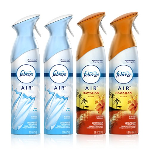 Febreze Air Freshener, 2 Linen & Sky and 2 Hawaiian Aloha scents (4 Count, 8.8 fl oz)