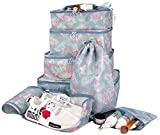 8 Set Travel Accessories Packing Organizers Luggage 4 Cubes+Shoes Bag+3 Mesh Pouches