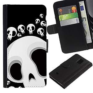 Paccase / Billetera de Cuero Caso del tirón Titular de la tarjeta Carcasa Funda para - Funny Skull Lol Face - Samsung Galaxy S5 Mini, SM-G800, NOT S5 REGULAR!