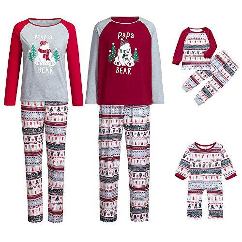 Gufenban Chrismas Family Pajamas,2Pcs Family Matching Red Nose Reindeer Christmas Pajamas Long Sleeve Print Top Pants Adults Baby Xmas Pajamas Sleepwear Set (Men -