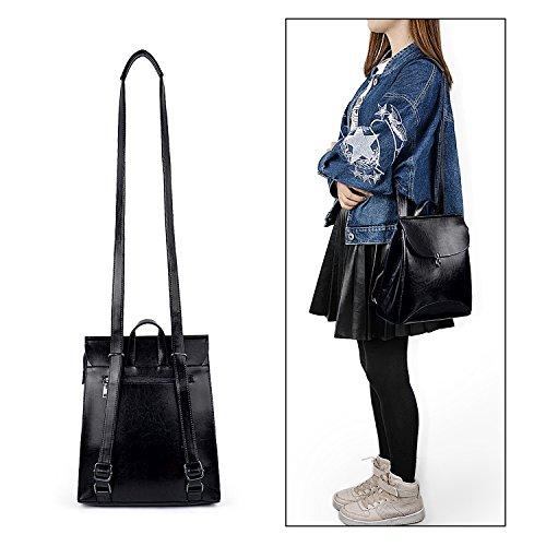 UTO Mujeres PU Cuero Mochila de Moda Señoras Ocasionales Daypacks Bolsa de Hombro Bolsa de Escuela para Niñas Pequeño Negro Negro Pequeño