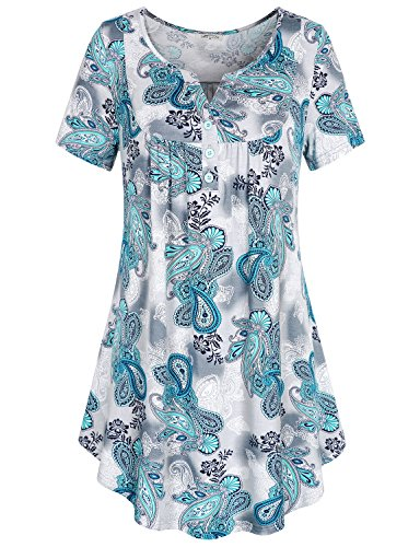 (SeSe Code Summer Tops for Women, Women's Crewneck Button-up Ruched Short Sleeve Summer Flowy Tunic Shirt X-Large Blue Boho Ombre Paisley Flared)