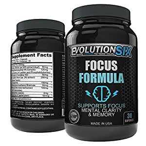 Mental Focus Memory Supplement Formula & Brain Booster - Supports Clarity, Memory, concentration and Brain Activity - EvolutionSix® (Brain Enhancer, Booster, Health) Pills