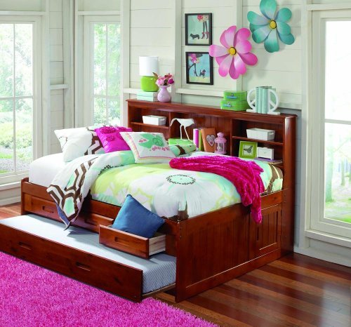MERLOT FULL CAPTAIN BOOKCASE DAYBED WITH 3 DRAWERS STORAGE/TRUNDLE UNIT (Trundle Storage Drawers)