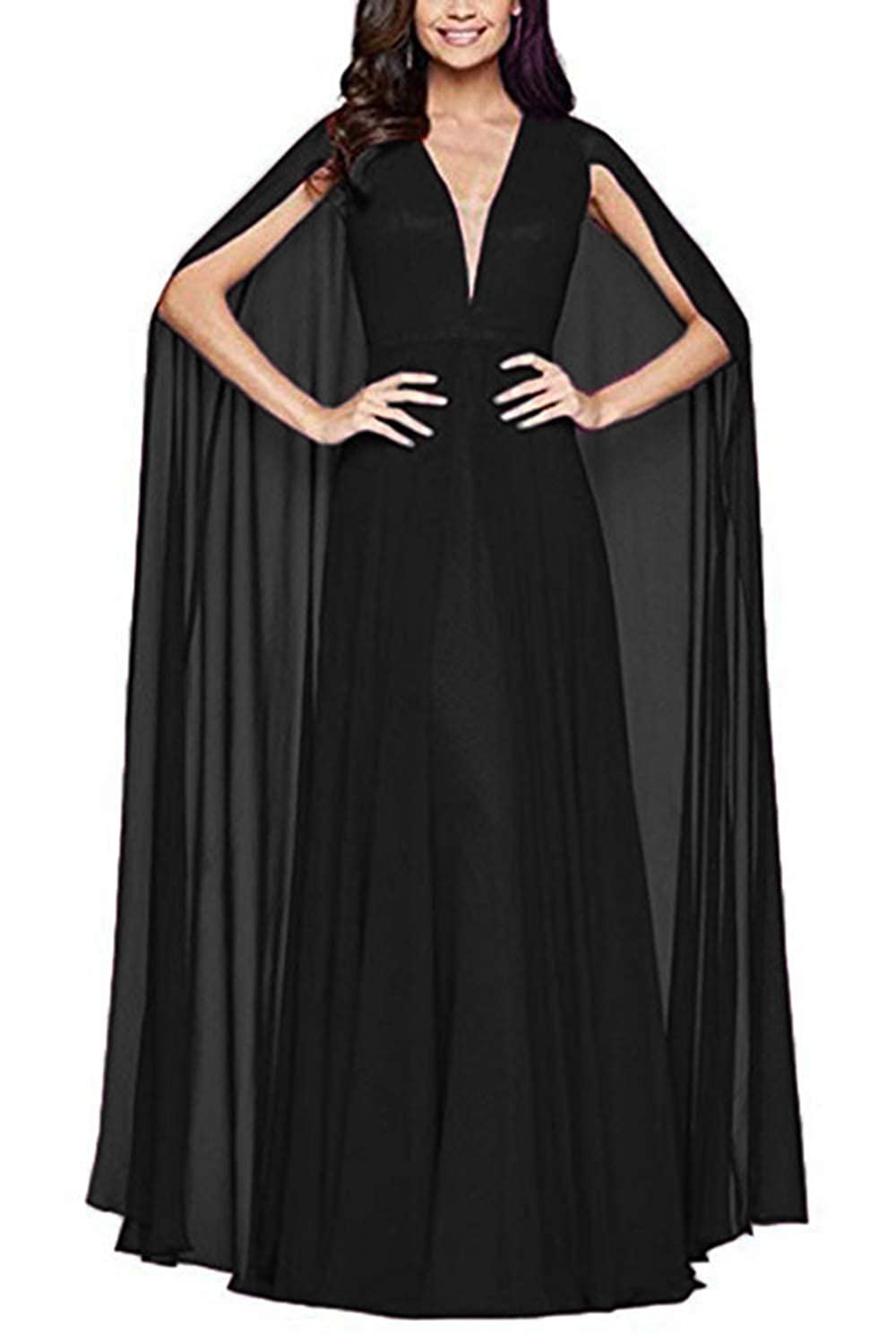 fc4460e010d Top4  Ri Yun Women s Prom Dresses Long with Cape Chiffon V Neck Formal  Evening Gowns 2018. Wholesale Price 79.99 -  89.99. Fabric  Chiffon .  Please refer to ...