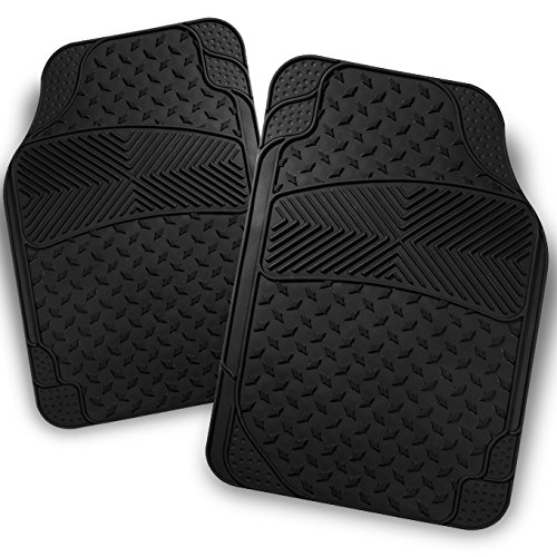 For All Weather Heavy Duty Ver.2 Metal Design Black Car Interior Front Floor Mats 2 Pieces Set Liner ()