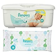 Pampers Baby Wipes Tub, Sensitive 64 ct + Bonus Travel Pack 18 ct
