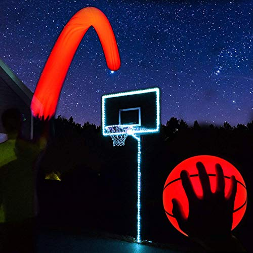sketball Hoop Kit with LED Basketball - White, Size 7 Basketball (Official Size) ()
