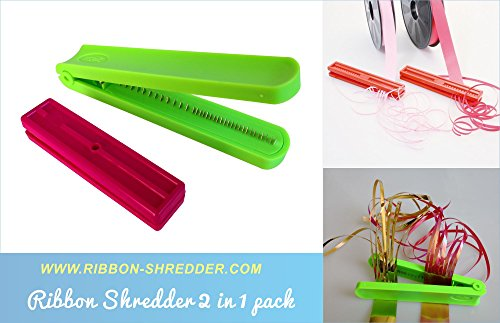 Durable Ribbon Shredder Curler with Metal Teeth Blade Lime Green x 1pc and Double Sides Ribbon Shredder Curler Tool x 1pc - Ribbon Blade