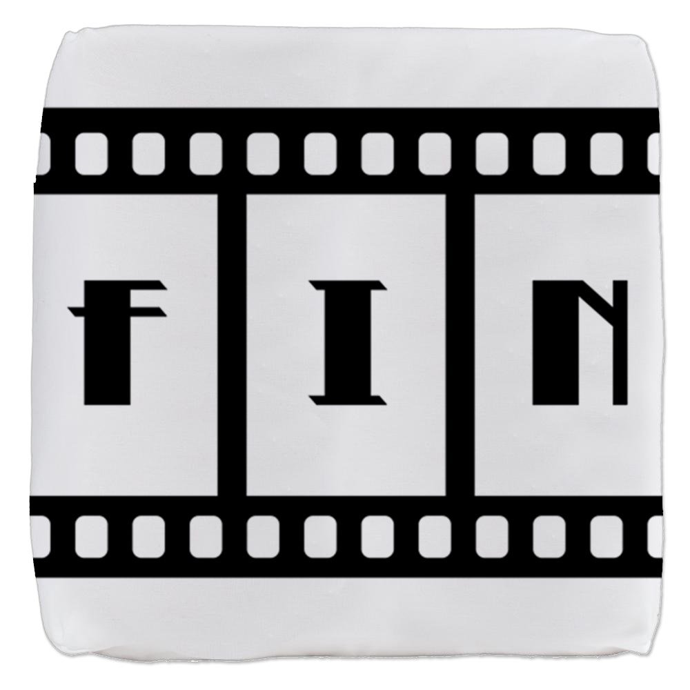 18 Inch 6-Sided Cube Ottoman FIN: Old Hollywood Movie Ending