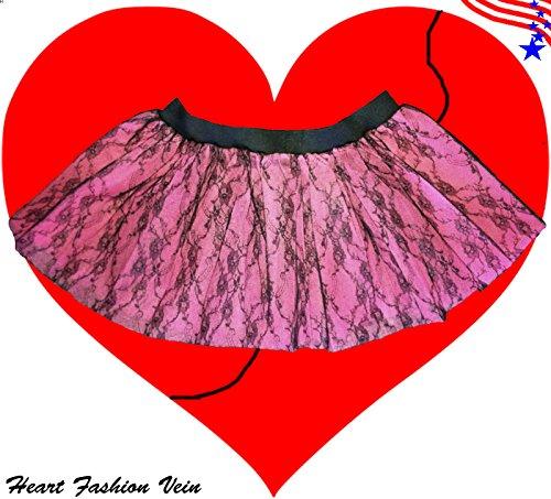 Baby Pink Black Flower Lace Tutu Skirt Halloween Fancy Costumes