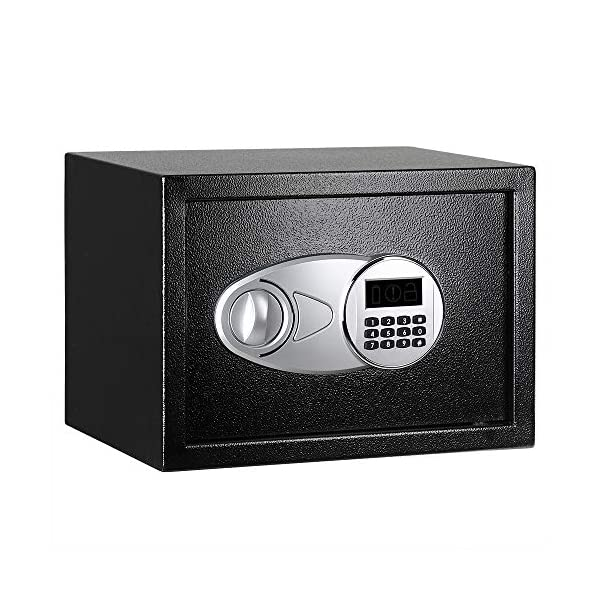 Amazon Basics Steel Security Safe with Programmable Electronic Keypad - Secure Cash, Jewelry, ID Documents - Black, 0.5… 1