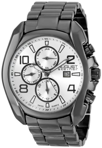August Steiner Men's AS8109BK Swiss Quartz Multifunction Silver-tone Dial Gun Bracelet Watch