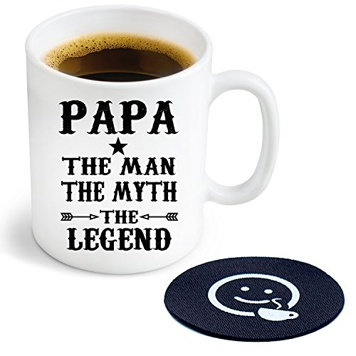 (Papa the Man the Myth the Legend Novelty Coffee or Tea Mug and Coaster - 11 oz Ceramic Mug Ships in a White Gift Box)