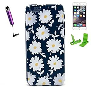 WQQ Daisies Pattern PC Hard Case with Stylus Pen and Screen Protector for iPhone 6
