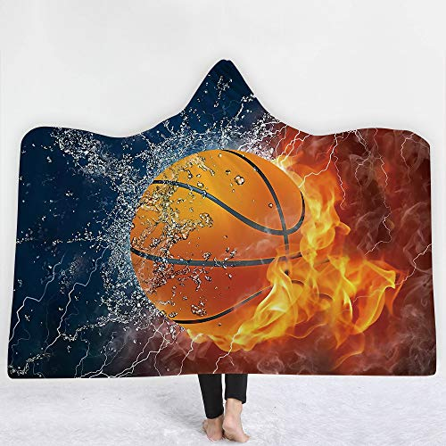 Hooded Basketball (Irisbell Hooded Blanket Cape Wrap Baseball Softball Soccer Soft Wearable Blanket Hooded Throw Poncho 60''H x 80''W (Basketball, 60''x51''))