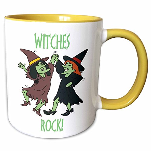 3dRose Blonde Designs Happy and Haunted Halloween - Halloween Witches Rock - 15oz Two-Tone Yellow Mug (mug_131394_13)