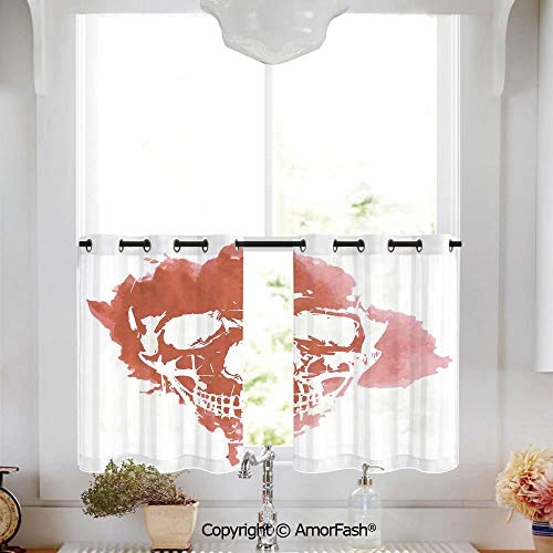 - Horror House Decor Kitchen Window Sheer Curtains -White Crushed Voile Draperies,Privacy Semi Sheer Curtains,W52 x L45-Inch,Skull Head in Watercolor Brush Stroke Gothic Skeleton Splash Voodoo Paint