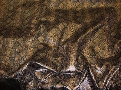 """54"""" Wide Faux Python Snake Skin Leather Bronze Fabric By The yard"""