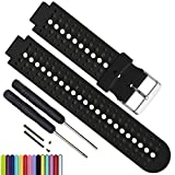 MyTime Silicone Waterproof Replacement Watch Bands and Straps with 2PCS Pin Removal Tools + 2PCS Lugs Adapters for Garmin Fouerunner 220 230 235 620 630 735 GPS Running Smart Wrist Watch (Black)