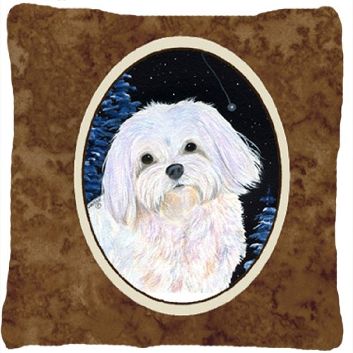 UPC 615872504855, Caroline's Treasures SS8460PW1414 Starry Night Maltese Decorative Canvas Fabric Pillow, Large, Multicolor