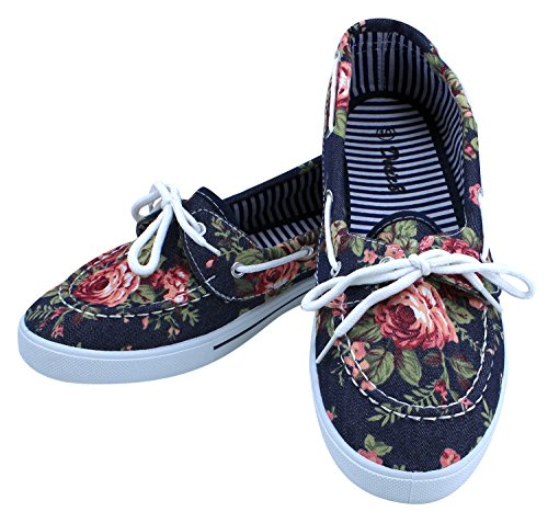 On Flowers Canvas Style Women's Boat Slip Dark Loafer Enimay Denim Shoe Flats Casual Original WcqOfIxnH