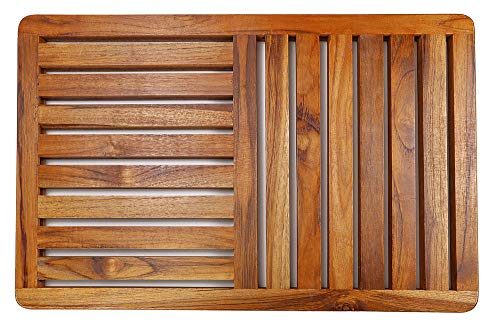 Teak Wood Bath Mat,23.6 x 15.7 Inch Deluxe Shower Bathroom Mat In Gift box, Non Slip Floor Mat for Indoor Outdoor By HTB