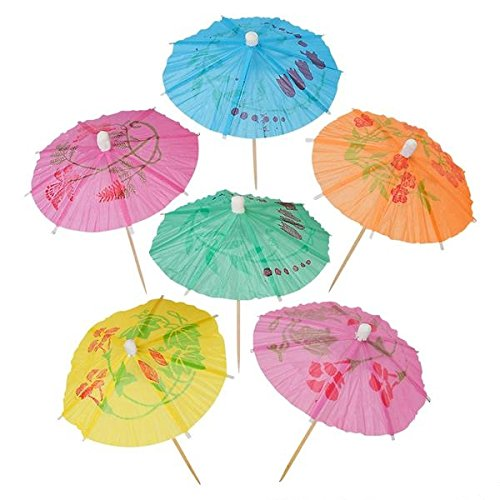 (Cocktail Umbrellas Picks for Drinks, Cocktail Drink Umbrellas - Hawaiian Party and Pool Party Supplies - Paper Parasol Umbrella Picks Bulk Pack, Box of)