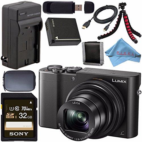 Panasonic Lumix DMC-ZS100 Digital Camera (Black) DMCZS100K + DMW-BLG10 Lithium Ion Battery + External Rapid Charger + Sony 32GB SDHC Card + Small Case + Flexible Tripod Bundle