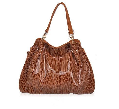 Fashion Women Brands Handbags Shoulder Bag Snake Pattern Genuine Leather Messenger Bag Luxury Tote Cowhide Paillette BA021 (Color Brown) - Croc Pattern Leather