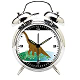 Children's Room Silver Dinosaur Silent Alarm Clock Twin Bell Mute Alarm Clock Quartz Analog Retro Bedside and Desk Clock with Nightlight-403.501_Dinosaur, Extinct, Animal, Dino, Prehistoric, Gigantic