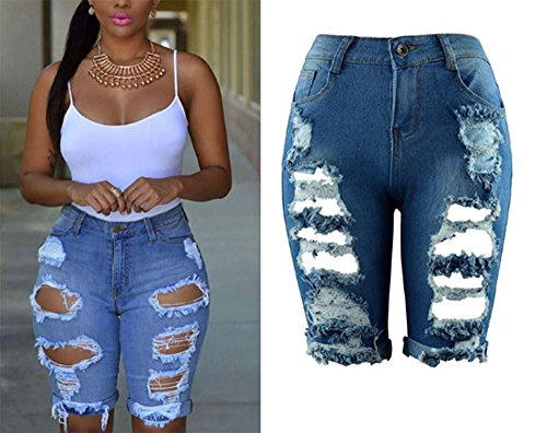 Strappati Estivi Donna Blu In Skinny Strappato Autunnali Denim Jeans Da Casual 2018 zwxtTUq8x